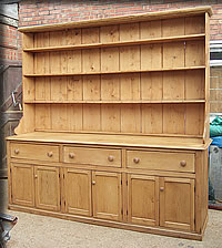 Large Victorian pine dresser over 8 ft